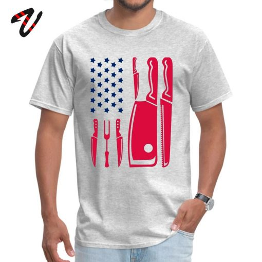 Patriotic Chef Knife Flag Tops Tees Prevalent Round Neck Funny Reich Sleeve Pure New Zealand Men 1