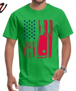 Patriotic Chef Knife Flag Tops Tees Prevalent Round Neck Funny Reich Sleeve Pure New Zealand Men 3