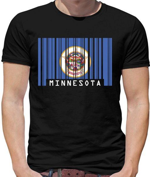 Print T Shirt Mens Short Sleeve Hot Minnesota Barcode Style Flag Mens Crewneck T Shirt