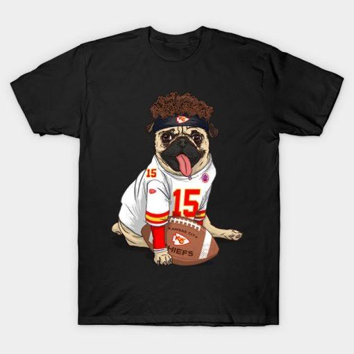 Pug Mahomes Kansas City Tee T Shirt Pug tshirt dog pet Pfootball Pfootball patrick mahomes kansas 1