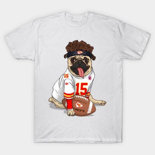 Pug Mahomes Kansas City Tee T Shirt Pug tshirt dog pet Pfootball Pfootball patrick mahomes kansas 2
