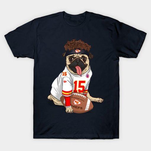 Pug Mahomes Kansas City Tee T Shirt Pug tshirt dog pet Pfootball Pfootball patrick mahomes kansas 3