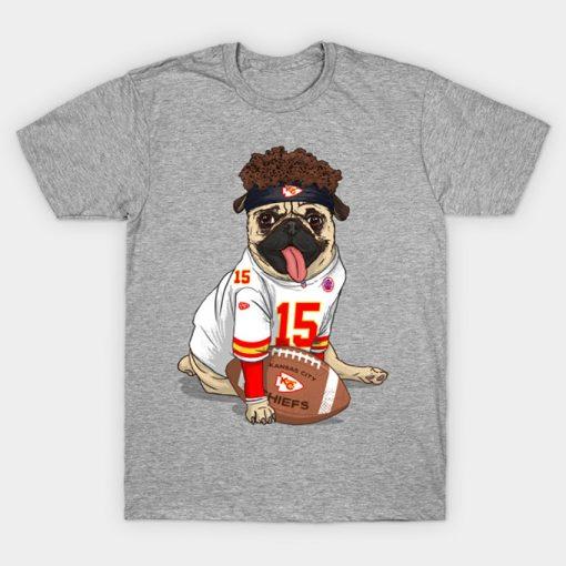 Pug Mahomes Kansas City Tee T Shirt Pug tshirt dog pet Pfootball Pfootball patrick mahomes kansas 4