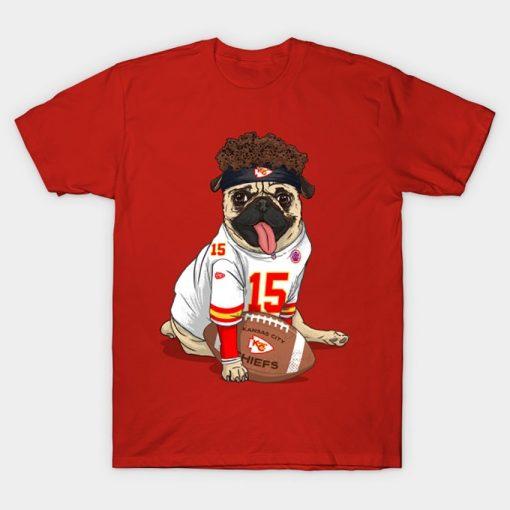 Pug Mahomes Kansas City Tee T Shirt Pug tshirt dog pet Pfootball Pfootball patrick mahomes kansas