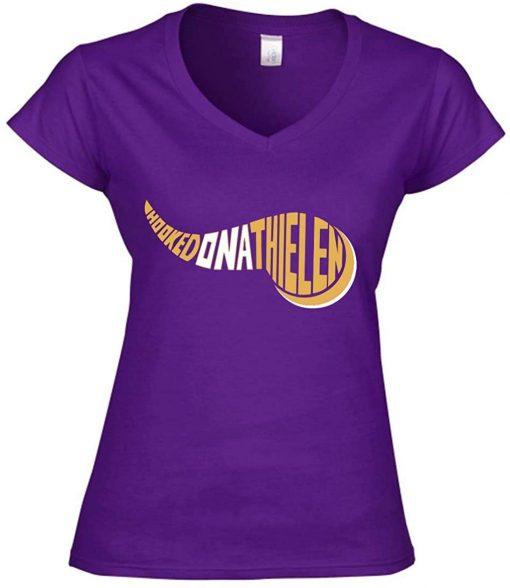 Purple Minnesota Thielen Hooked on Ladies V Neck T Shirt unisex men women t shirt