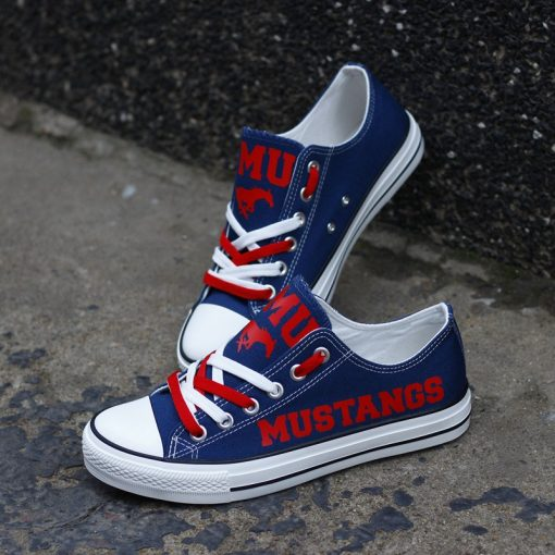 SMU Mustangs Limited Low Top Canvas Sneakers