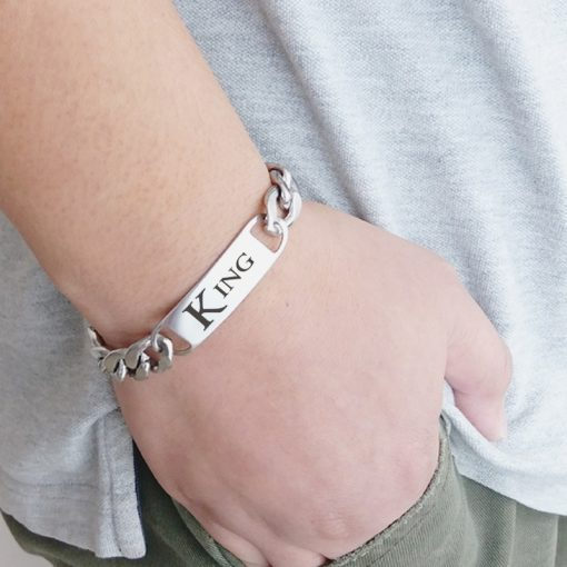 Sacramento Kings Design Men Fashion Wristlet Stainless Steel Bracelet