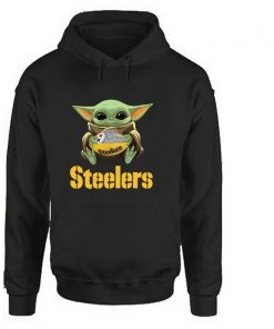 Steelers Baby Yoda Hoodies Women Harajuku Woman Clothes Casual Cartoon Pullovers Korean Hoodie Love Black Full
