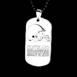 The National Football Leaguer Cleveland Brownss Silver Black Titanium Steel Dog Tag Plate Army Biker Chain 1