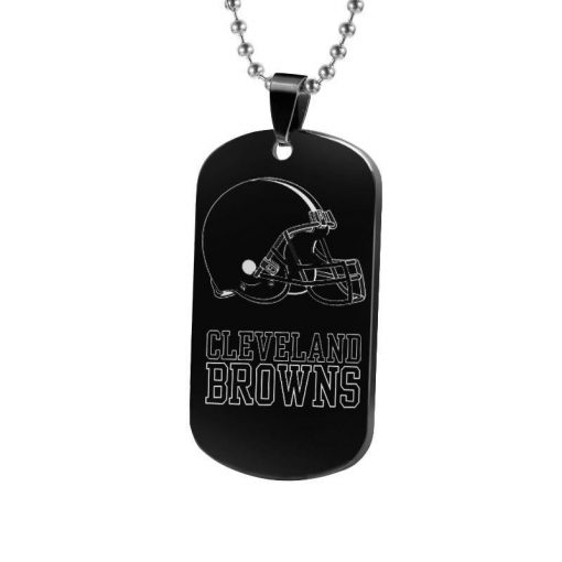 The National Football Leaguer Cleveland Brownss Silver Black Titanium Steel Dog Tag Plate Army Biker Chain