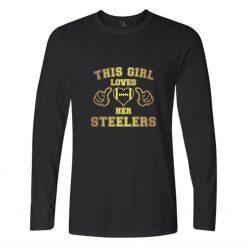 This Loves Her Steelers T shirt Print Cotton Long Sleeve T shirt Regular Long Sleeve Tops