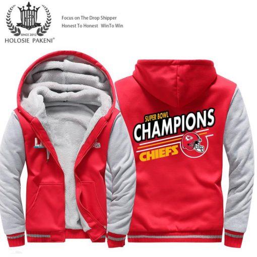 USA Size Men Kansas City Thicken Warm Winter Chiefs Champion Fleece Hoodie Zipper Hoodie Sweatshirt Jacket 1