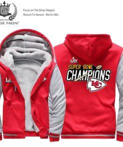 USA Size Men Kansas City Thicken Warm Winter Chiefs Champion Fleece Hoodie Zipper Hoodie Sweatshirt Jacket 2