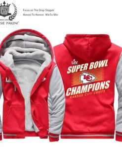 USA Size Men Kansas City Thicken Warm Winter Chiefs Champion Fleece Hoodie Zipper Hoodie Sweatshirt Jacket