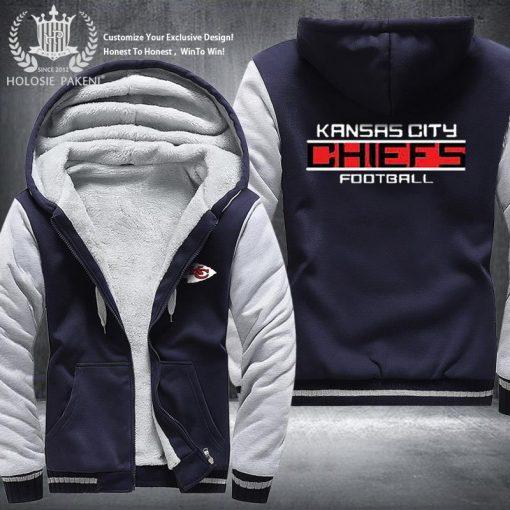 USA Size Men Kansas City Thicken Warm Winter Chiefs Champion Fleece Hoodie Zipper Hoodie Sweatshirt Jacket 3