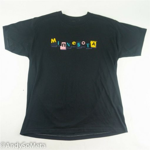 Vtg 80S Minnesota Laughing Stock Size L T Shirt Sportswear Retro Colorway Black Summer Style Tee