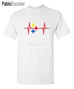 men summer t shirt brand tops euro size Steelers Heart Beat Custom Mens T Shirt Tee