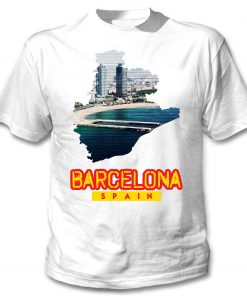 2019 Fashion Hot sale BARCELONA SPAIN NEW COTTON WHITE TSHIRT Tee shirt