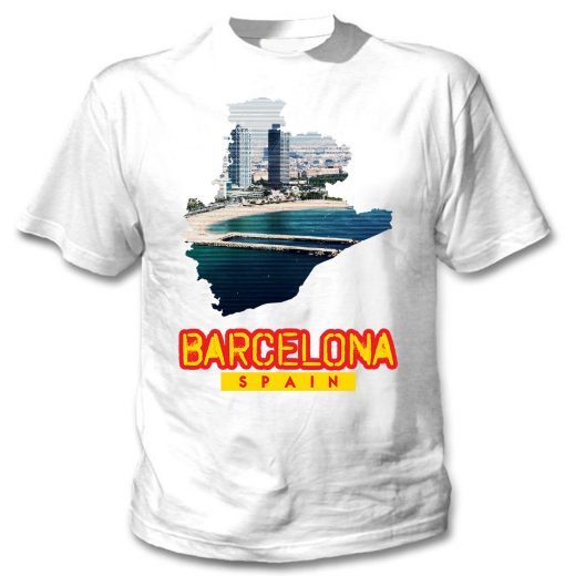 2019 Fashion Hot sale BARCELONA SPAIN NEW COTTON WHITE TSHIRT Tee shirt