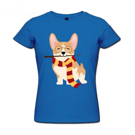2019 Hot sale Corgi Cosplayed As Harry Tshirt Unique Potter Gryffin Corg T Shirt Women 100 1
