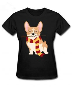 2019 Hot sale Corgi Cosplayed As Harry Tshirt Unique Potter Gryffin Corg T Shirt Women 100