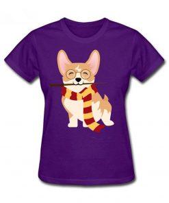 2019 Hot sale Corgi Cosplayed As Harry Tshirt Unique Potter Gryffin Corg T Shirt Women 100 4