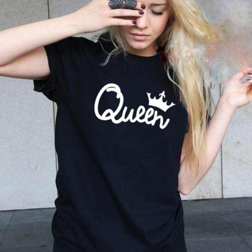 2019 NEW KING QUEEN Letter Printed Black Tshirts 2019 Summer Casual Cotton Short Sleeve Tees Tops 1