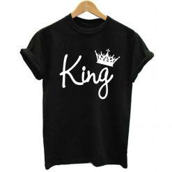 2019 NEW KING QUEEN Letter Printed Black Tshirts 2019 Summer Casual Cotton Short Sleeve Tees Tops 2