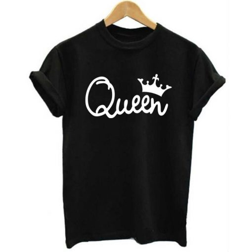 2019 NEW KING QUEEN Letter Printed Black Tshirts 2019 Summer Casual Cotton Short Sleeve Tees Tops 3
