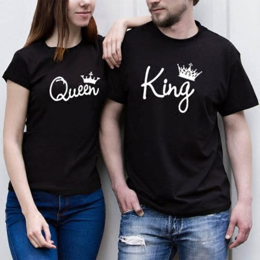 2019 NEW KING QUEEN Letter Printed Black Tshirts 2019 Summer Casual Cotton Short Sleeve Tees Tops