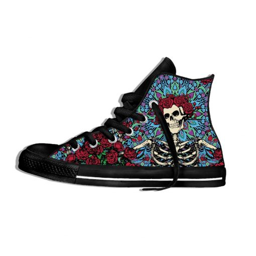2019 New Fashion Casual Breathable Shoes Lace Up Grateful Dead Roses Walking Shoes Lightweight High Top 1