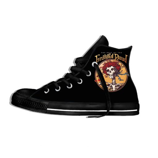 2019 New Fashion Casual Breathable Shoes Lace Up Grateful Dead Roses Walking Shoes Lightweight High Top 3