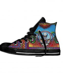 2019 New Fashion Casual Breathable Shoes Lace Up Grateful Dead Roses Walking Shoes Lightweight High Top 5