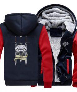 2019 men game of thrones printed casual hooded hoodie solid color plus velvet padded raglan sweatshirt 1