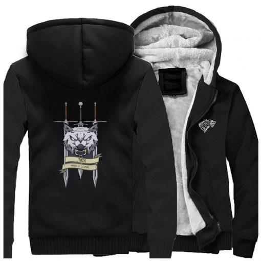 2019 men game of thrones printed casual hooded hoodie solid color plus velvet padded raglan sweatshirt 2
