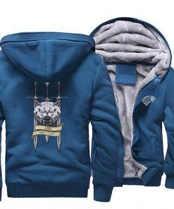 2019 men game of thrones printed casual hooded hoodie solid color plus velvet padded raglan sweatshirt