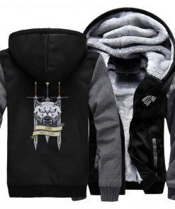 2019 men game of thrones printed casual hooded hoodie solid color plus velvet padded raglan sweatshirt 3