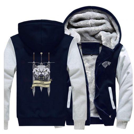 2019 men game of thrones printed casual hooded hoodie solid color plus velvet padded raglan sweatshirt 4