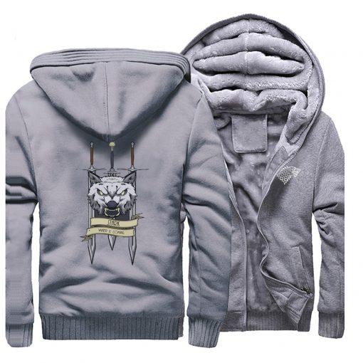2019 men game of thrones printed casual hooded hoodie solid color plus velvet padded raglan sweatshirt 5