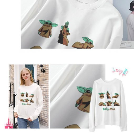 2020 Harajuku Baby Yoda Shirt Aesthetic Clothes Women Hoodies Sweatshirt Pokemon Women Kawaii Clothes Hoody Pullover 1