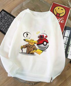 2020 Harajuku Baby Yoda Shirt Aesthetic Clothes Women Hoodies Sweatshirt Pokemon Women Kawaii Clothes Hoody Pullover 5