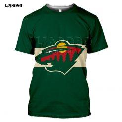 2020 fashion 3D MINNESOTA print Harajuku T shirt trendy Baseball Hockey Team LOGO Sportswear WILD Short 1
