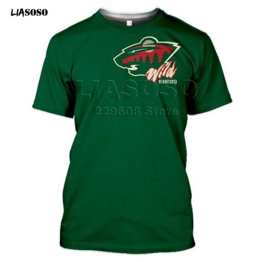 2020 fashion 3D MINNESOTA print Harajuku T shirt trendy Baseball Hockey Team LOGO Sportswear WILD Short 2