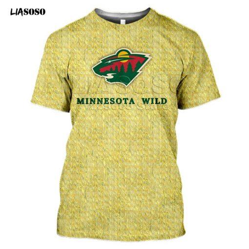 2020 fashion 3D MINNESOTA print Harajuku T shirt trendy Baseball Hockey Team LOGO Sportswear WILD Short 5