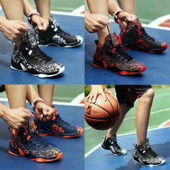 AFFINEST Basketball Shoes For Men Sneakers Jumping Shoes High Top Lace Up Ankle Air Cushion Sport 5