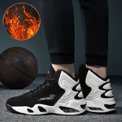 AFFINEST Basketball Shoes For Men With Fur Keep Warm Sneakers Non slip Jumping Shoes High Top 5