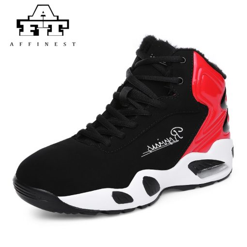 AFFINEST Basketball Shoes For Men With Fur Keep Warm Sneakers Non slip Jumping Shoes High Top