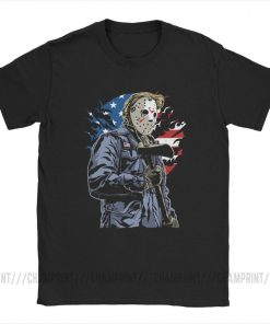 American Horror T Shirt Men Cotton Leisure T Shirts Halloween Friday the 13th Jason Voorhees Freddy 2