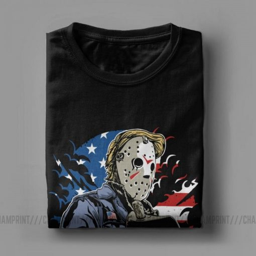 American Horror T Shirt Men Cotton Leisure T Shirts Halloween Friday the 13th Jason Voorhees Freddy 4