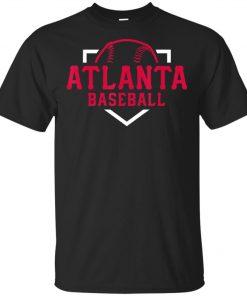 Atlanta Baseball Atl Vintage Home Plate Brave Retro Gift Black T Shirt M 3Xl Harajuku Tee